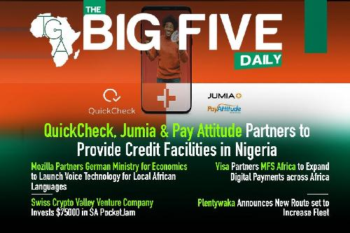 Hello! Welcome to today's edition of the Big 5 Daily! Here's a bonus, Opay has unveiled USSD code to facilitate easy transfer for its users. The new transfer code is *955#! Are you ready for the Big 5? Enjoy! Big news! QuickCheck, Jumia, and PayAttitude have partnered to offer credit facilities to Nigerians .